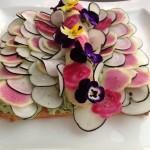 tarte fine crabe feves fleurs 3
